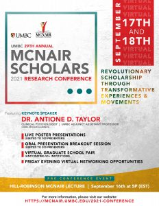 A flyer promoting the 2021 Virtual Conference
